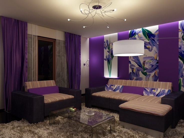 Lovable Living Room Design With Beautiful Purple Accents And Cozy Sofa Also  White Transparent Coffee Table