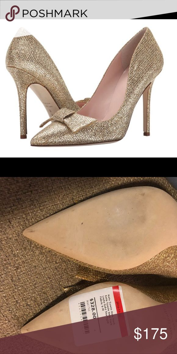 New Kate Spade Layla Gold Starlight Bow Heels! Layla Gold Starlight Bow Pointy Toe Pump Heels! Size 9. New shoes, tag still clearly visible on the bottom of shoe. Threw away the box thinking I'd wear them at some point, but haven't had an occasion to! These would be perfect for a holiday party! kate spade Shoes Heels