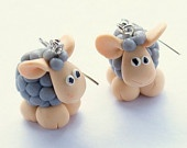 polymer clay sheep earings from etsy -- too cute!