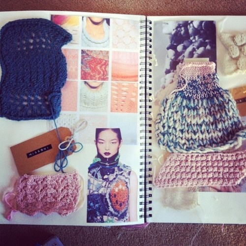 Fashion Textiles Sketchbook - knitting design and sampling for fashion design