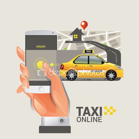Vector illustration of a taxi service concept. Smartphone and touchscreen — Stock Vector © kupritz #123015986