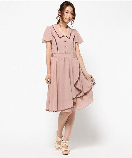 axes femme(アクシーズファム)のアシメデザインワンピース(ワンピース)|ピンク