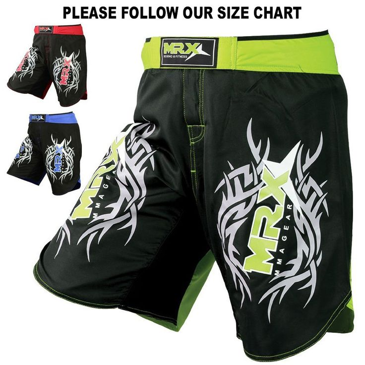 New MRX MMA Fight Shorts Stretch Penals Grappling UFC Cage Fighting Muay Thai Kickboxing Trunks (Black Green, Medium). MMA Fight Shorts. Made of 100% Micro Fabric. Stretch Panel with 4 Way Material. Split Sides For Extra Flexibility. T3 Stitching For Extra Durability.