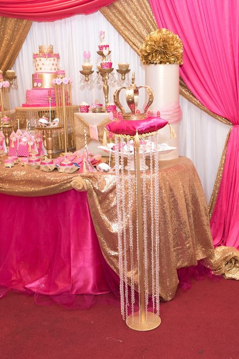 Royal crown on a beaded pedestal stand from a Royal Princess Baby Shower on Kara's Party Ideas | KarasPartyIdeas.com (19)