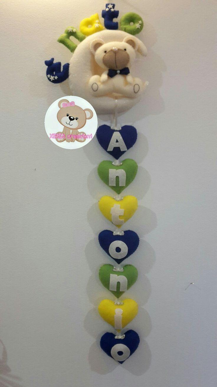 Fiocco nascita personalizzabile. Interamente fatto a mano. Birth ribbon personalized