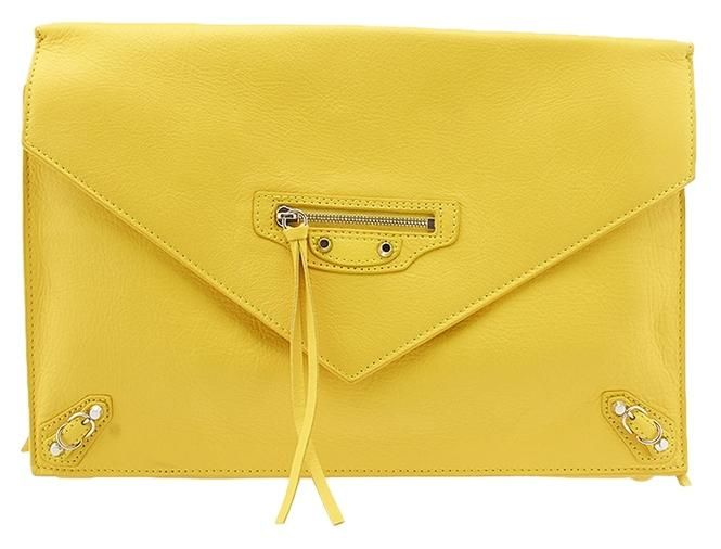 Balenciaga Papier Sight Leather Large Envelope (51674) Yellow Clutch. Get the trendiest Clutch of the season! The Balenciaga Papier Sight Leather Large Envelope (51674) Yellow Clutch is a top 10 member favorite on Tradesy. Save on yours before they are sold out!