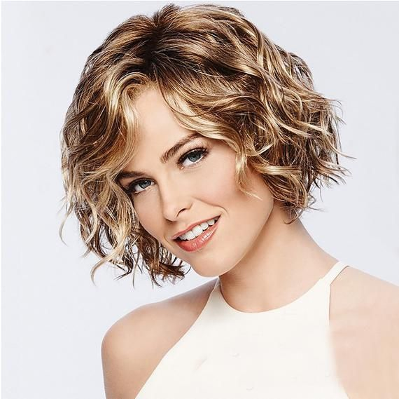 Puffy Short Wavy Wig Curly Blonde Wig Natural Wavy Wig Heat Etsy In 2020 Natural Hair Wigs Curly Hair Styles Wig Hairstyles