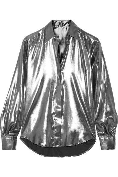 Pallas - Arianne Silk Lamé Shirt - Silver - FR40
