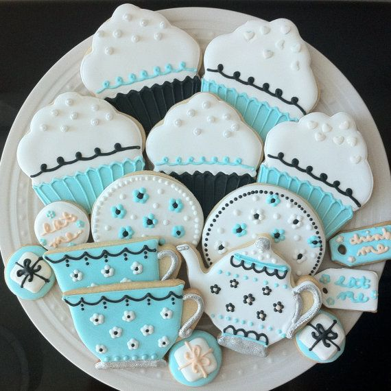 Tea Party Decorated Cookies- For your Alice in Wonderland Birthday