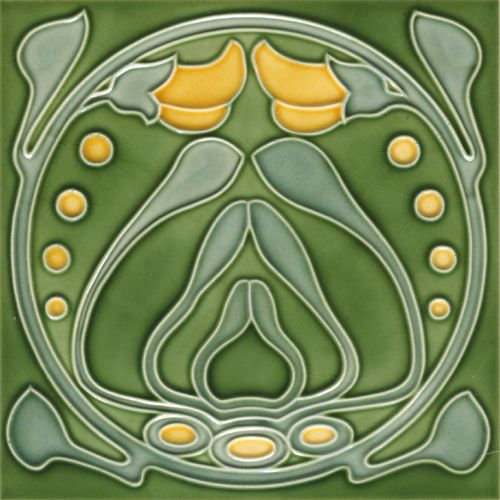 »Wall tile Art Nouveau ARCH OF BLOSSOMS« by Replicata: green / yellow, 15 x 15 x 0,8 cm, Reproduction