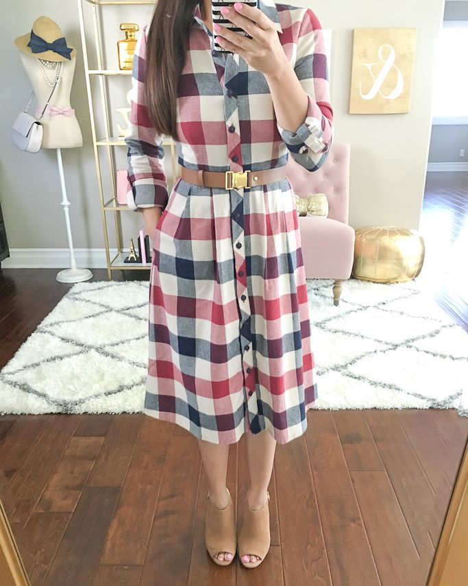 Cognac belt, Jam Girl Dress, Steve Madden Claara block heel sandals, buffalo plaid midi dress, petite plaid dresses, fall fashion, fall outfits, nude sandals - click the photo for outfit and room details!
