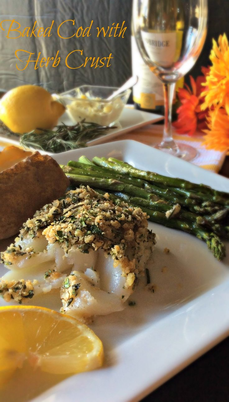 Baked Cod with Herb Crust ~ this delightful and easy recipe is scrumptious! I love cod and this preparation is simple and yields incredible results. You'll love it!