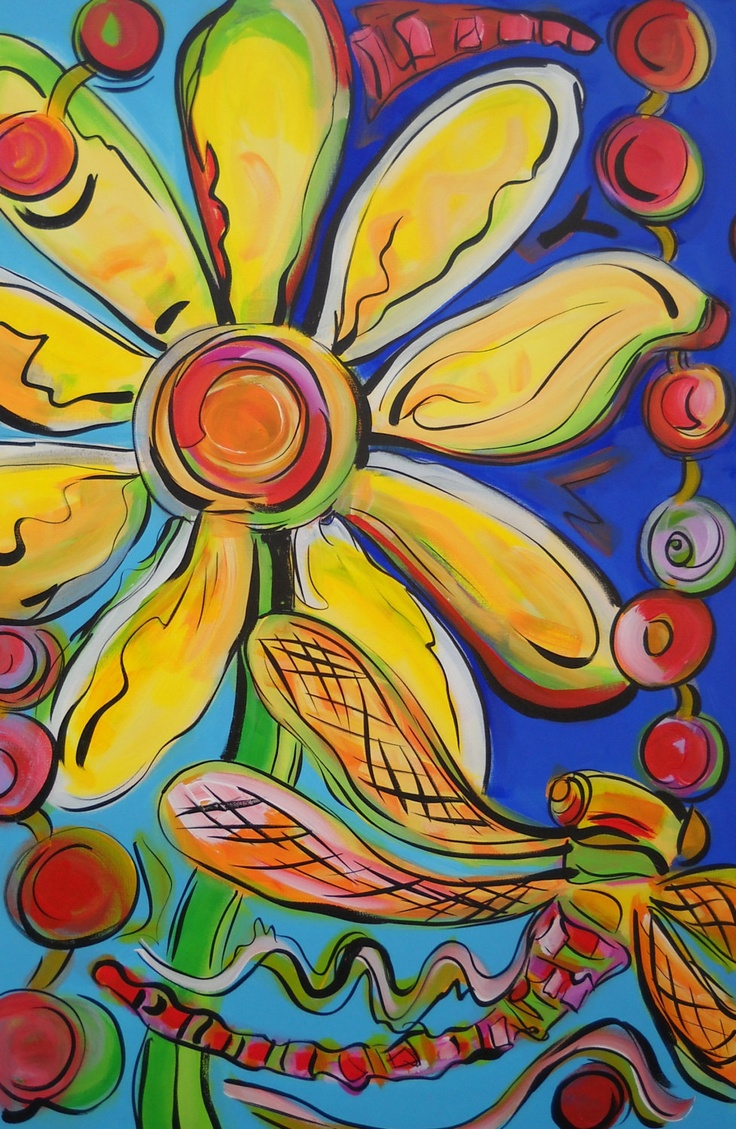 Daisy Acrylic Painting