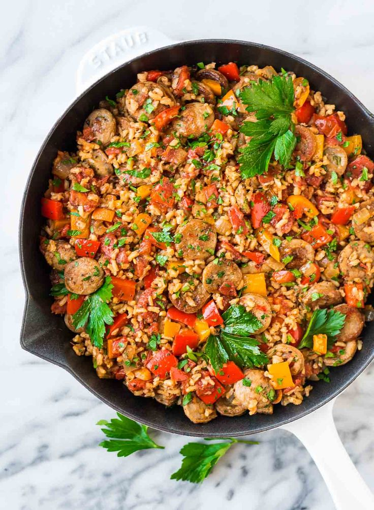 Smoked Sausage and Rice Casserole with Peppers. A quick and easy 30 minute meal! Recipe at wellplated.com | @wellplated