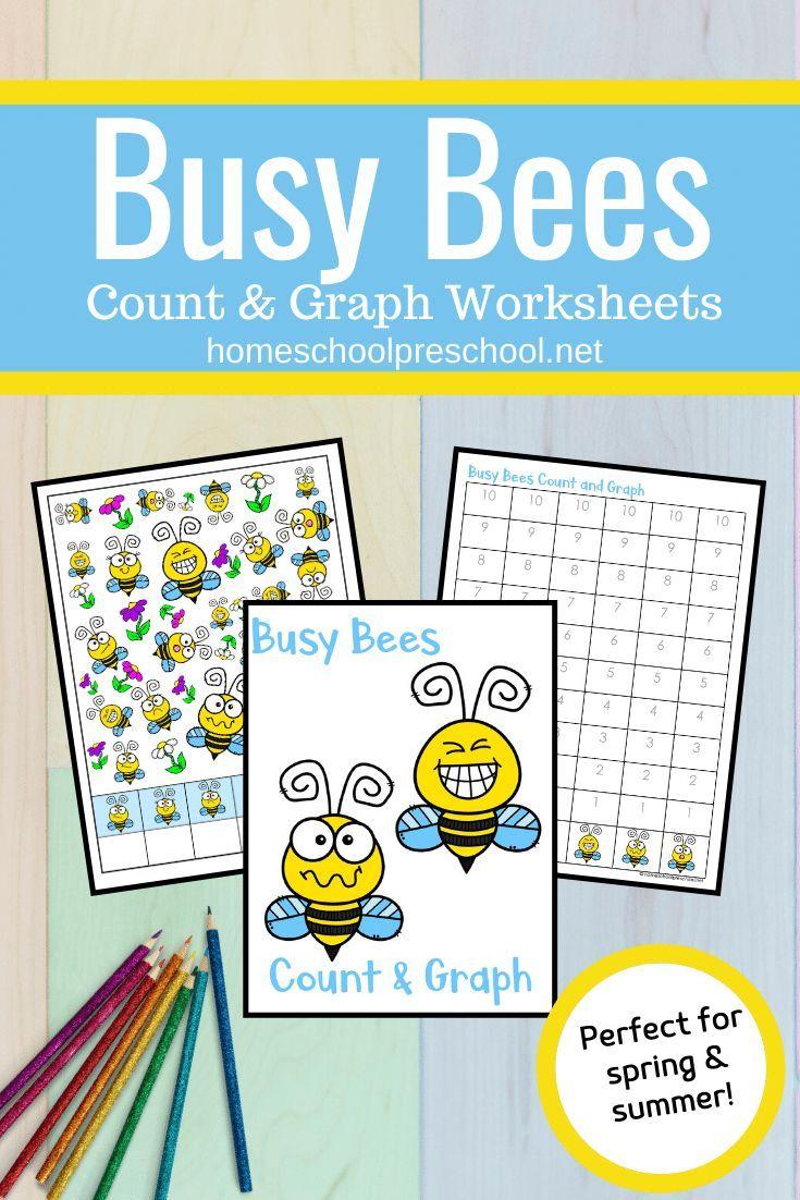 Busy Bees Count And Graph Worksheets Math Activities Preschool Bee Activities Graphing Kindergarten [ 1102 x 735 Pixel ]