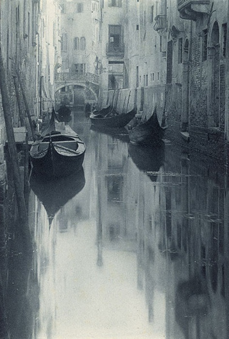 Venice, Italy c. 1930: Alfredstieglitz, Photographers, Venetian Canal, Alfred Stieglitz, Venice Italy, Travel, Places, Black, Photography