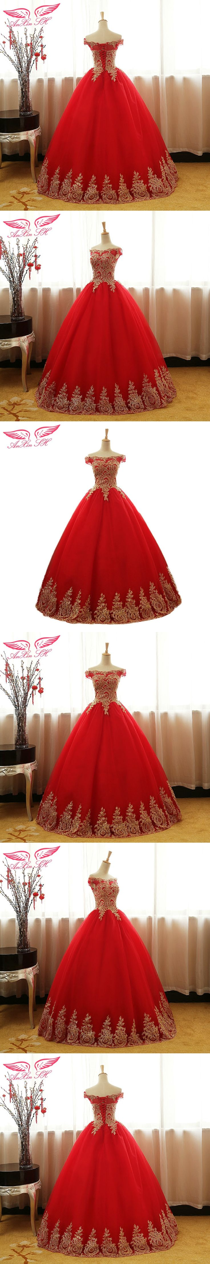 AnXin SH Princess red lace golden flower evening dress golden lace red evening dress golden pattern flower red evening dress