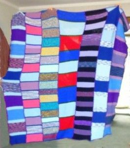 Knitted blankets for Orphans lots of blues