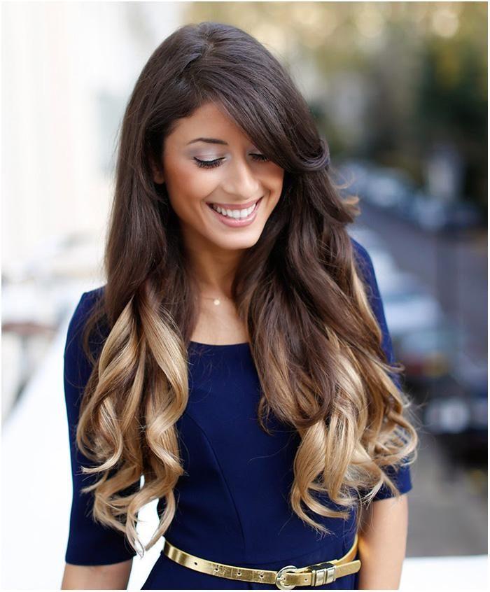 Medium Dark Brown Hair with Blonde Underneath