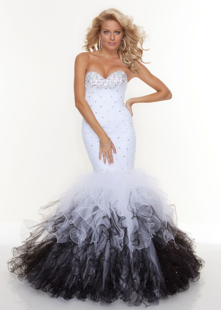 Paparazzi by mori lee 93040 white mermaid prom dress for Unique black and white wedding dresses