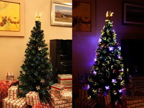 6 FT ARTIFICIAL GREEN PRELIT MULTI COLOR LED FIBER OPTIC CHRISTMAS TREE WITH ANGEL TOPPER *** More info could be found at the image url.