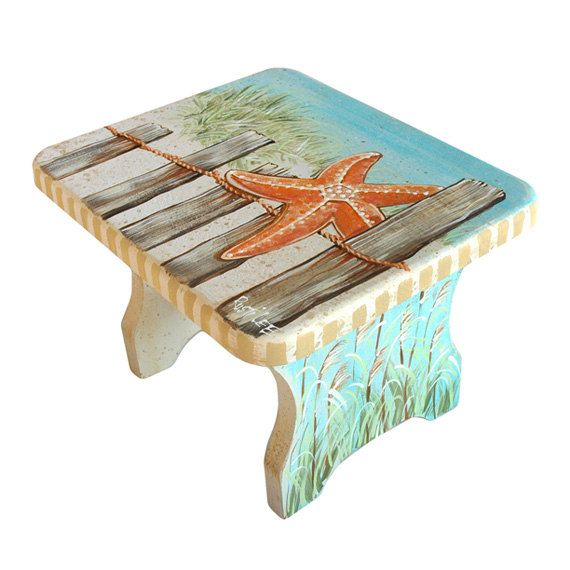 Cape Cod Style Hand Painted Stool BEACH Scene With by RustiLee, $70.00