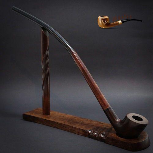 "TOBACCO SMOKING PIPE + STAND  Gandalf - Hobbit CHURCHWARDEN LONG 14""   Brown"
