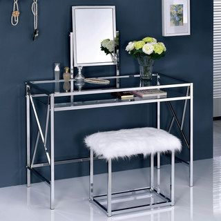 Shop For Furniture Of America Ailees Contemporary Glam 2 Piece Vanity Table  Set With Faux Fur Stool. Get Free Delivery At Overstock.com   Your Online  ...
