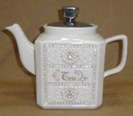 Tetera de porcelana beige con diamante de 21x11x16.5cm