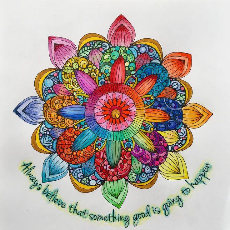 ベニテングタケとか食べたらこういうの見えるかも。 それにしても塗り絵楽しい。楽しい。そして痛い。自分が。  #color#曼陀羅#曼陀羅塗り絵#曼荼羅#曼荼羅塗#maṇḍala#coloring#coloringbook#coloringsheet#水彩毛筆#マンダラ模様塗り絵#valentinaharper#adultcolorbook#colorfull