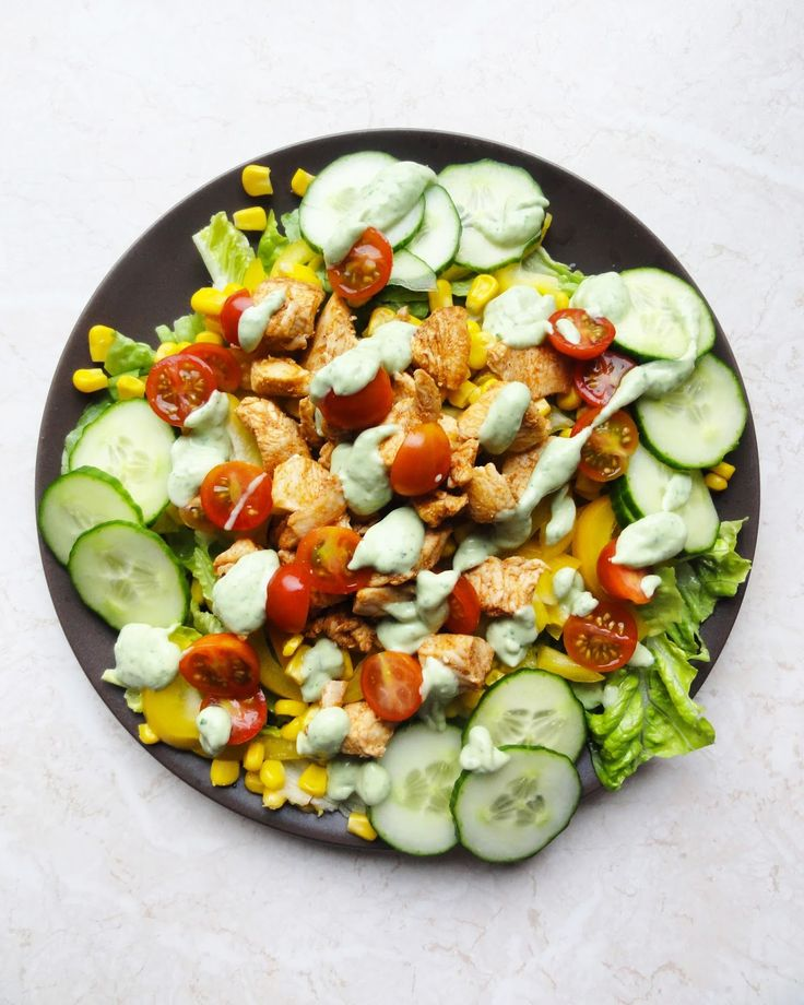 Healthy, quick and easy chicken salad recipe with cilantro and avocado sauce. Healthy lunchbox recipe idea for work or school.