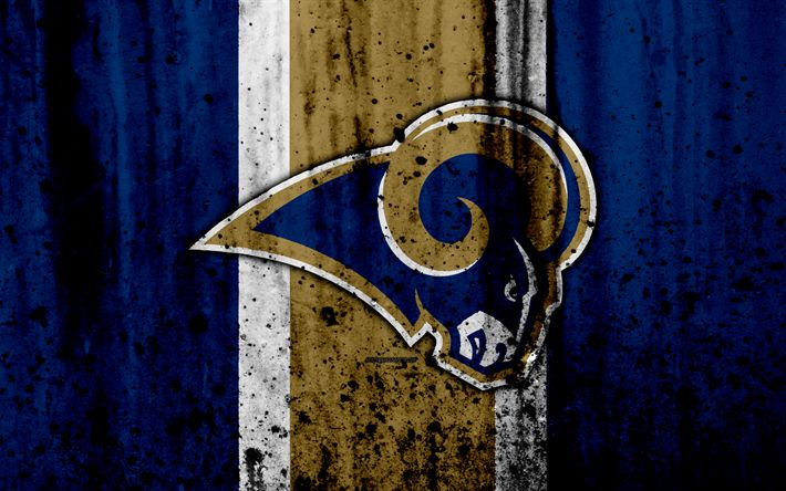 Download wallpapers 4k, Los Angeles Rams, grunge, NFL, american football, NFC, logo, USA, art, stone texture, West Division