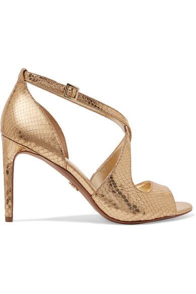 MICHAEL Michael Kors - Estee Metallic Snake-effect Leather Sandals - Gold - US6