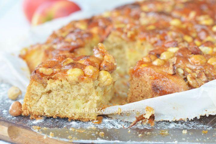 Deze goddelijke combi van plaatcake met appel, nootjes en dulce de leche is heel makkelijk om te maken. Door zijn platte vorm ideaal om uit te delen.