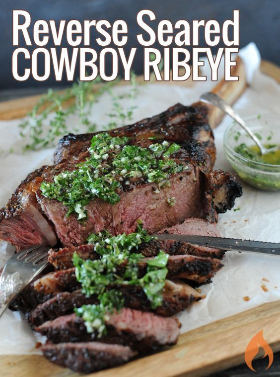 Reverse Seared Cowboy Ribeye - Learn the grilling technique pros use to deliver a perfectly cooked thick and juicy steak.
