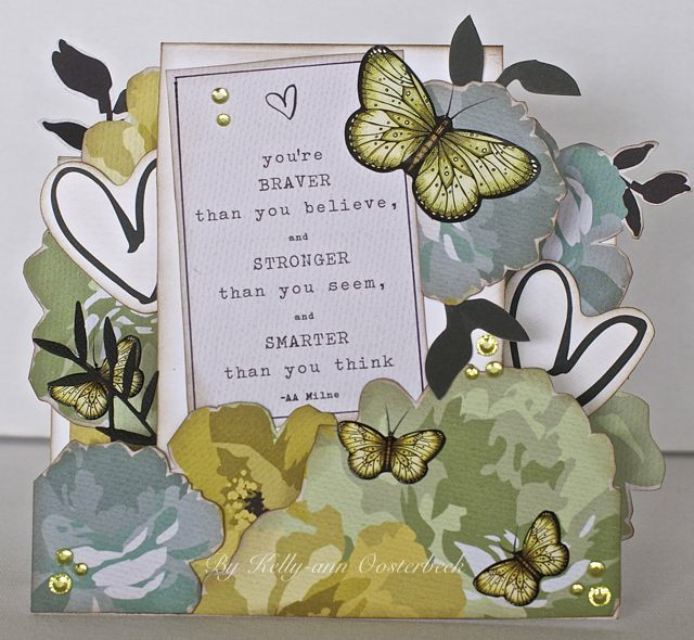 A Step Card By Kelly-ann Oosterbeek made using Olive Butterfly stickers... www.amothersart.com.au