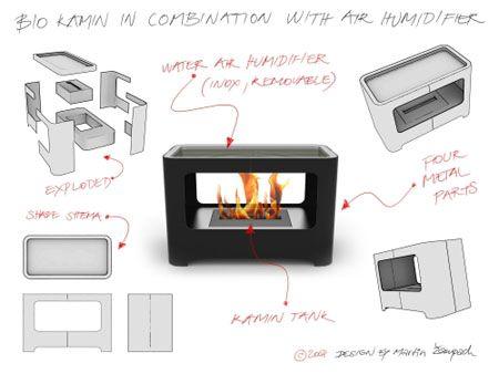 BIO KAMIN, Ethanol Fireplace with Air Humidifier
