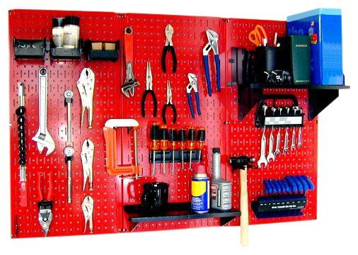 Red for metal working tools  Workbench Metal Pegboard Tool Organizer - casa.com