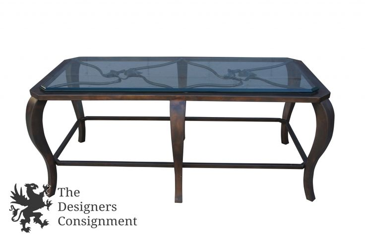 Stunning Contemporary Glass Top Coffee Table Cocktail Floral Accent Metal Base | The Designers Consignment