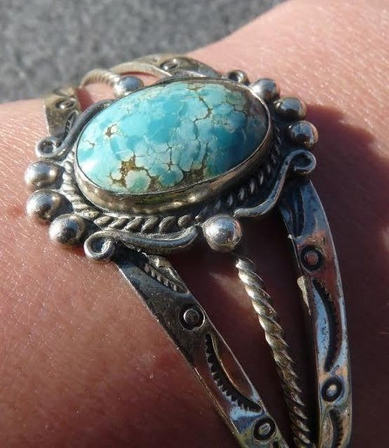 Antique Handmade Navajo American Indian Sterling Silver Turquoise Cuff Bracelet