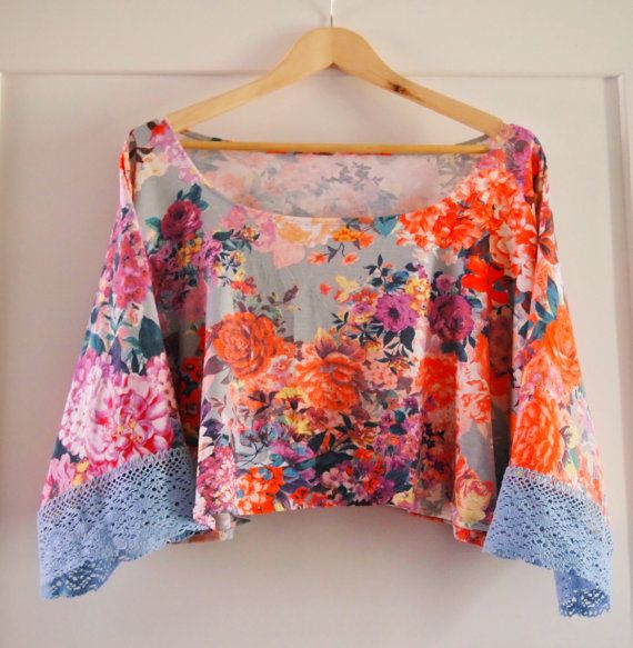 Crop Top Yoga Top Batwing Top Floral Top Feminine by IndianRosy