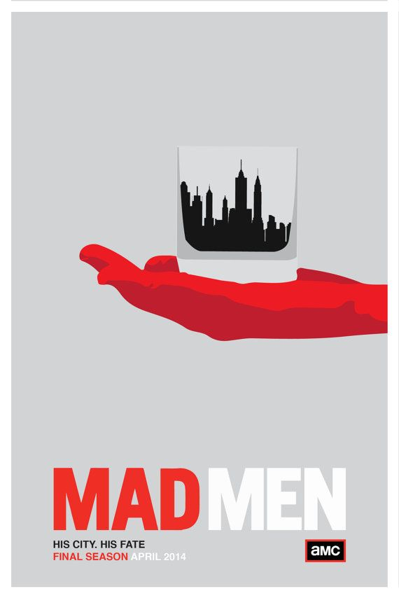Poster design for the seventh and final season of Mad Men. His City. His Fate Flat Color. 12x18 print, not mounted. Matte Paper.