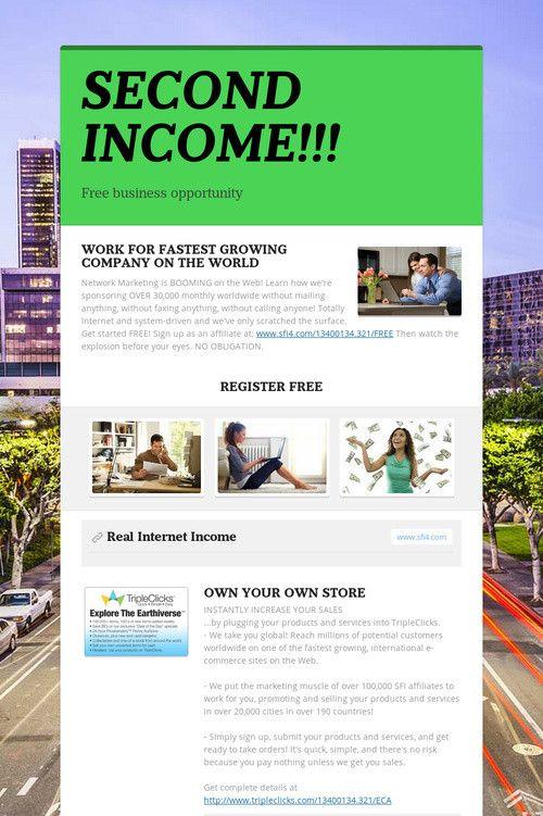 SECOND INCOME!!!