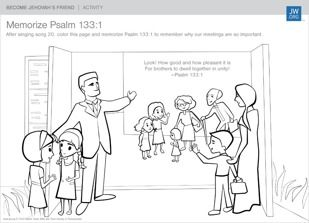 FREE Downloadable Coloring Sheet to help you Memorize a Bible Verse Together!—Psalm 133:1 | Become Jehovah's Friend Activity