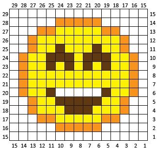 Happy Face Emoji C2C square and pixel graph - Repeat Crafter Me