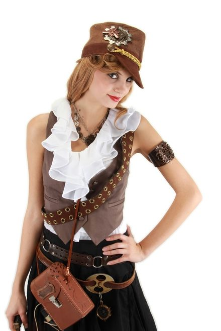 Brown Private WWII Military Hat - You'll be giving the orders instead of taking them with this steampunk-inspired cadet hat. The suede fabric and rope trim provide a comfortable fit and official look. #steampunk #yyc #costume #hat #classic