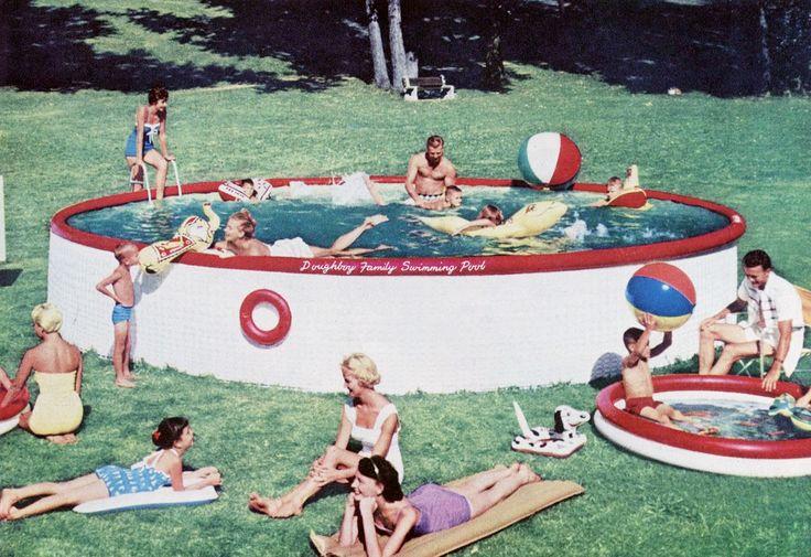 1956 above ground pool fun vintage slide show for Pool en keeshonden show