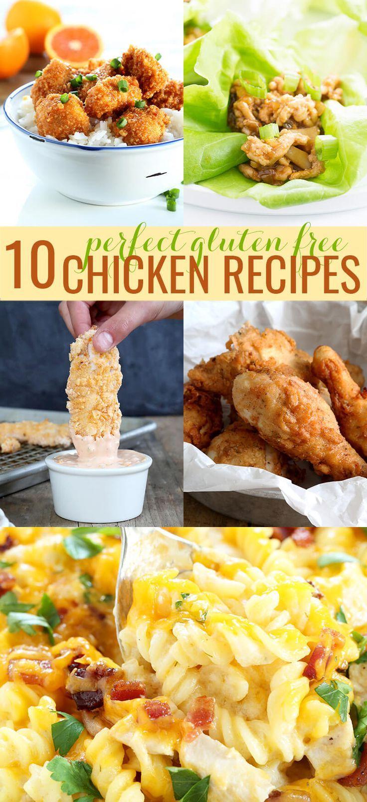 Ten easy gluten free chicken recipes: baked chicken casseroles, chicken fingers, take-out style orange chicken and fried chicken that tastes just like KFC!