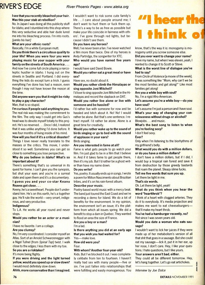 River Phoenix Details magazine interview, November 91
