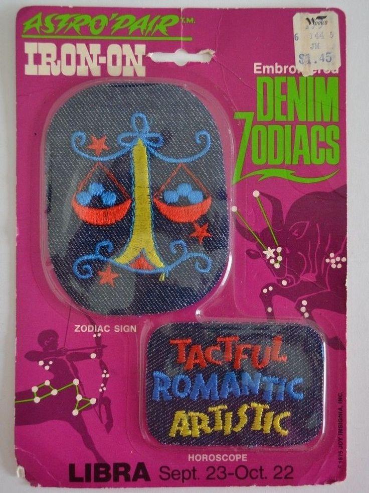 Vintage Iron On Patch Libra Zodiac Sign Denim Astro New 1975 Joy Insignia #JoyInsigniaInc